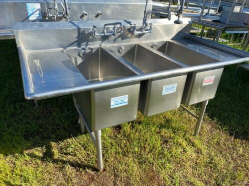 "Stainless Steel 75"" x 37"" Heavy Duty 3 Compartment Wash Sink with 2 Faucets NSF"