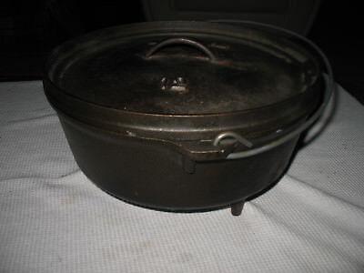 Vintage LODGE Cast Iron Dutch Oven Camp Oven # 12