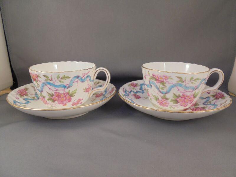 2 Mintons Montrose Blue Ribbon Cup & Saucers Sets (4 Pcs) Excellent