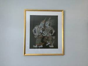 Large Thai Silk Fabric Painting in Gold Frame