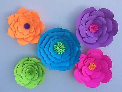 Set Of 5 Medium Handmade Paper Flowers For Backdrop Wedding Party Birthday