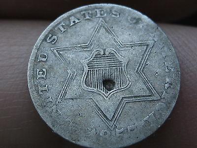1857 Three 3 Cent Silver- VG/Fine Details