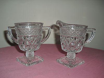 IMPERIAL Elegant Glass CAPE COD Crystal Footed Sugar & Creamer 160/31