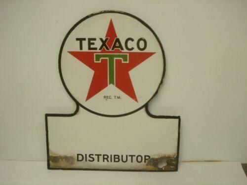 Vintage Texaco Keyhole Distributor Sign 1948 Porcelain