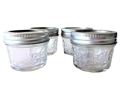 Mason Jelly Jars (Mason Ball Jelly Jars-4 oz. each - Quilted Crystal Style-Set of)