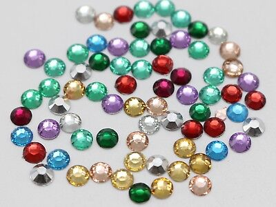 2000 Mixed Color Acrylic Round Faceted Flatback Rhinestone Gem 4mm SS16 Nail Art