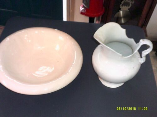 OLD WEATHERED LARGE WHITE PITCHER AND HEAVY WASH BOWL