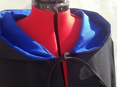 oversized black hooded cloak with sleeves. with blue lining harry wizard school (Black Hooded Cloak With Sleeves)