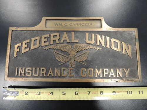 Federal Union Insurance Company VINTAGE BRASS advertising sign name plate eagle