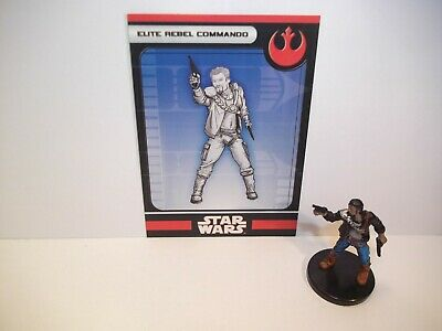 Star Wars Miniatures - Elite Rebel Commando 13/60 + Card - LOTF - Uncommon