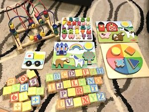 Melissa and Doug wooden puzzles, blocks toys