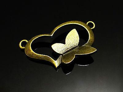 Verbinder Herz mit Schmetterling 30x18mm 3 Stk. bronzefarben Metall, C-12