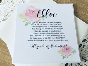 Poem Card for Bridesmaid or Maid of Honour Decorated with Roses and Personalised