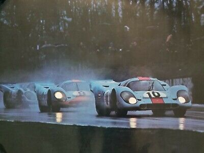 Original Vintage Gulf Porsche 917K Trio In The Rain LeMans Poster 22x34 917