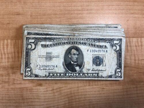 1953 Paper Money Five Dollar Silver Certificate One Blue Seal Bill Per Purchase