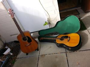 Old steel string acoustic guitars