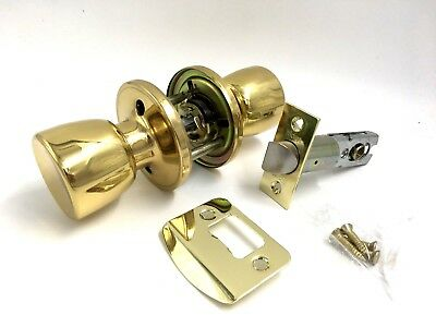 Passage Knob Set POLISHED BRASS Internal Door Handle Latch ()