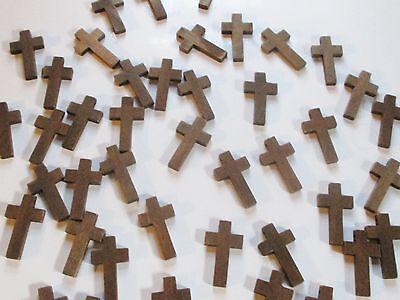 Wholesale Lot of 50 Small, Plain, Wood Crosses, Dark Brown
