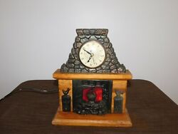 VINTAGE UNITED USA WOOD METAL ROOSTER FIRE PLACE SHELF TABLE CLOCK