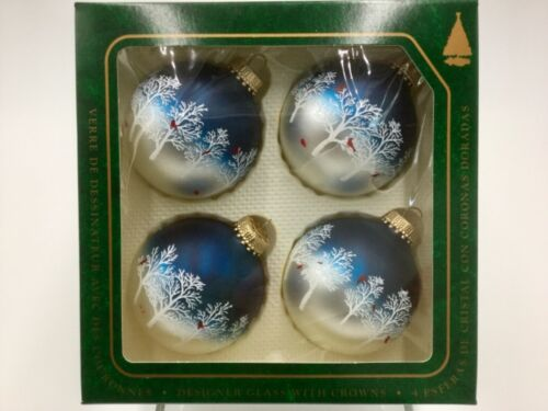 Vintage KREBS 4 Glass Christmas Ornaments Blue BOX Winter Trees w/Red Birds USA