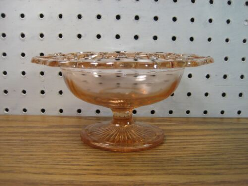 Pink Open Lace Edge Candy Dish Anchor Hocking Old Colony Depression Glass