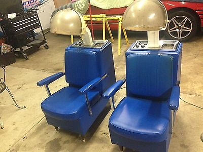 2 Vintage Hooded Hair Dryer Chairs Asset Shop Salon Equipment Blue