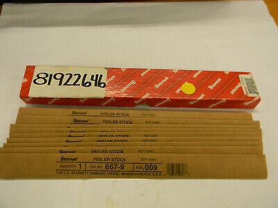 New Lot Of 10 Starrett Steel Feeler Gage 0.009 12x12 667-9 E5