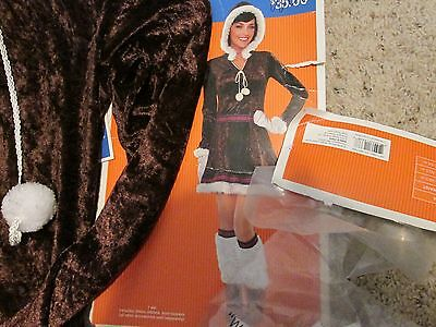 NEW* WOMEN'S L ESKIMO KISSES COSTUME * DRESS, BOOT TOPPERS, MITTENS *12-14