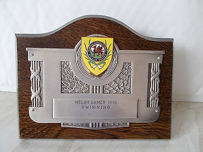 A Welsh Games 1961 Swimming Stand Up Plaque.