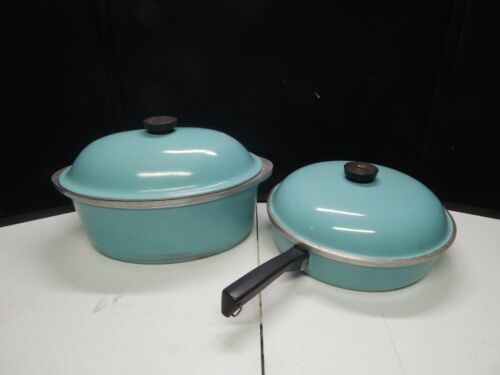 "CLUB 13"" aluminum roaster and 11"" skillet pan light blue turquoise vintage pot"
