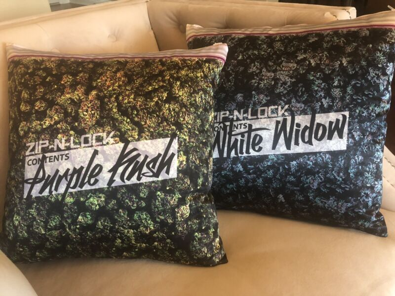 Set Of Two Big Bag Pillow Cases ,Marijuana ,purlpe Kushes And White Widow
