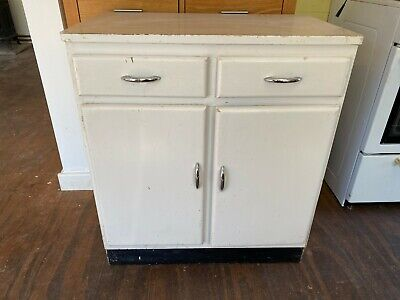 Vintage White Painted Wooden Kitchen Cabinet Cupboard 2 Drawers Freestanding