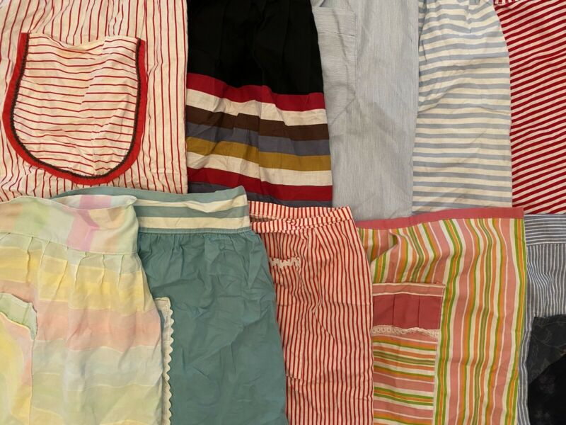 Lot Of 10 Vintage Striped Half Aprons - 2E