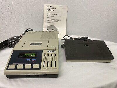 Sony Bm-815 Micro Transcriber Vintage 1987 Cassette Recorder Fs-75 Foot Pedal