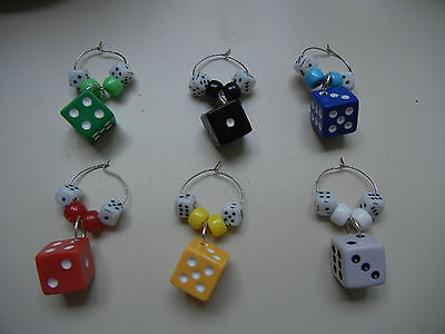 Colored Dice Wine Charms / Glass Identifiers  (set of 6) (Bunco Party)