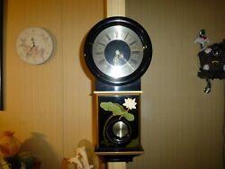 Vintage Asian Black Lacquered Wood Pendulum Lotus Wall Clock