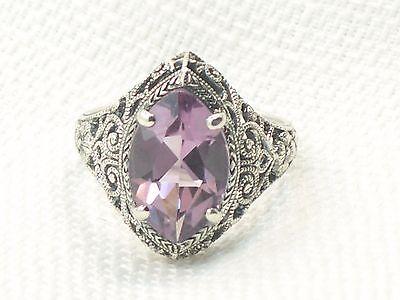 Estate Vintage Sterling Silver CNA Filigree Gemstone Amethyst Ring