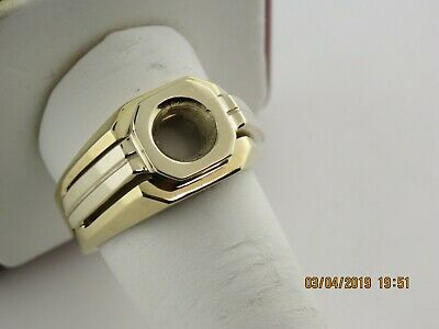 2Ct Men's Solitaire Ring Mounting 14K Two Tone Gold For 8.2 mm Round Diamond