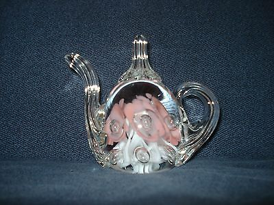 """Signed Gibson Glass WV Teapot Paperweight 1991 Pink Flowers w/Bubbles 3.5"""" H"""