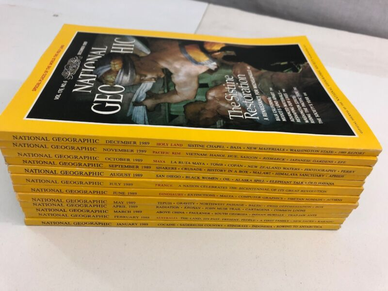 Lot of 12 - National Geographic Magazines - Complete Year - 1989