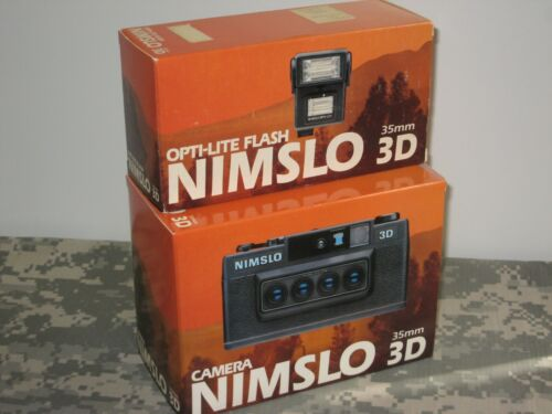 NIMSLO 3D Camera + NIMSLO 3D OPTI-LITE Flash Vintage 35mm Stereo New! Film in 3D