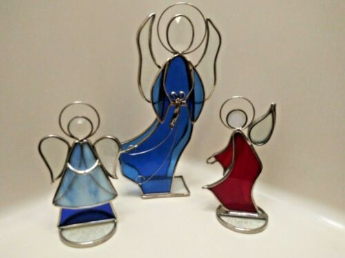 VINTAGE ART STAINED GLASS SELF STANDING  ANGELS