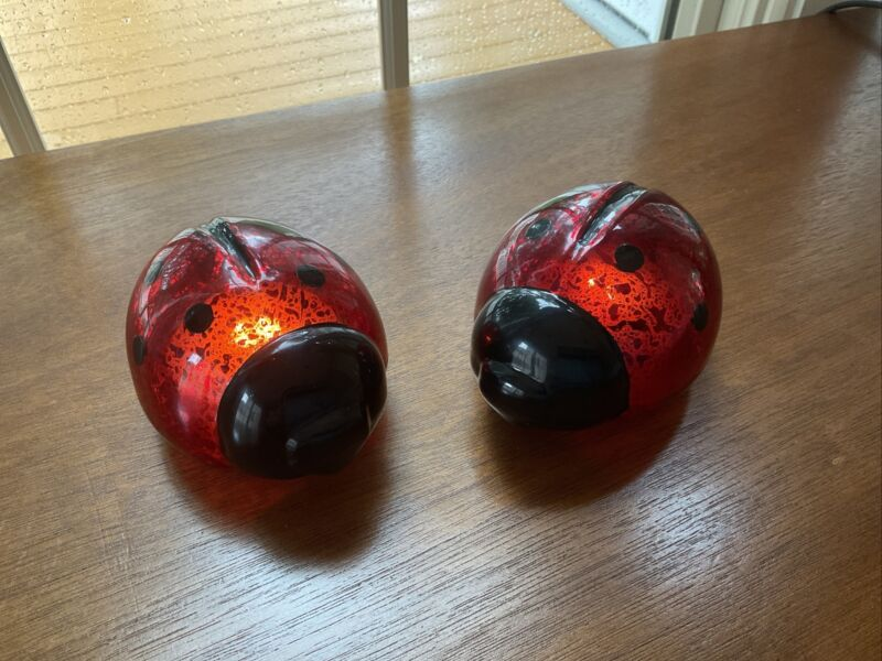 Set of 2 Illuminated Mercury Glass Lady Bugs By Valerie Parr Hill NEW