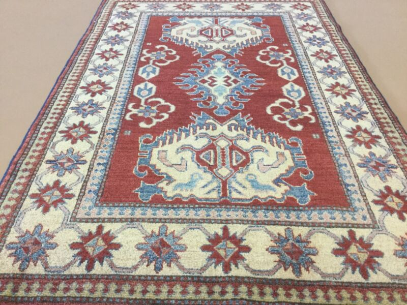 Red Beige Kazak Geometric Persian Oriental Area Rug Wool Hand Knotted Tribal