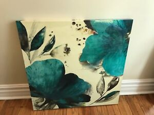 Square canvas painting - blue/teal flowers