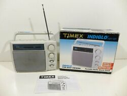 Timex Indiglo Lighted Portable 4 Band Weather Clock Radio T249G Cord Tested
