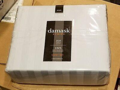 500 Ct Bed Bath & Beyond Damask Stripe 100% Egyptian Cotton King Sheet Set Blue