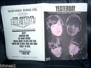 THE-BEATLES-ORIGINAL-OFFICIAL-SHEET-MUSIC-1965-YESTERDAY-Northern-Song-GREAT