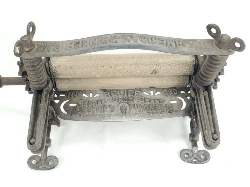 Antique American Wringer Company Horse Shoe Brand Cast Iron Rare Clothes Wringer