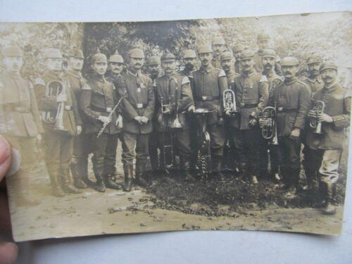RARE 1917 WWI GERMAN BAND Photograph, Real Photo Postcard, MUSICAL INSTRUMENTS